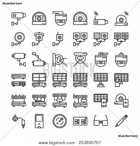 Cctv Outline Icons Perfect Pixel. Use For Website, Template,package, Platform. Concept Business Obje
