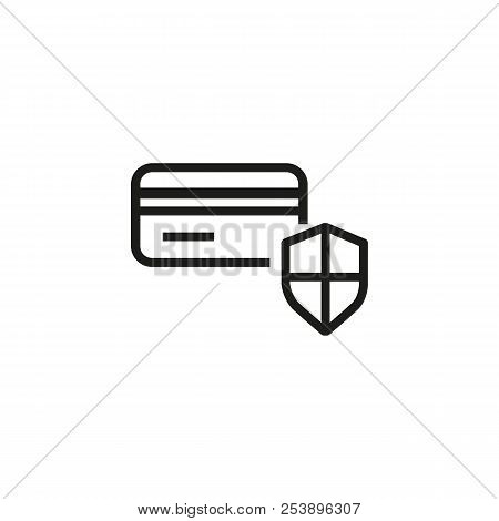 Credit Card Security Line Icon. Credit Card Protection, Secure Payment, Transaction. Credit Card Con
