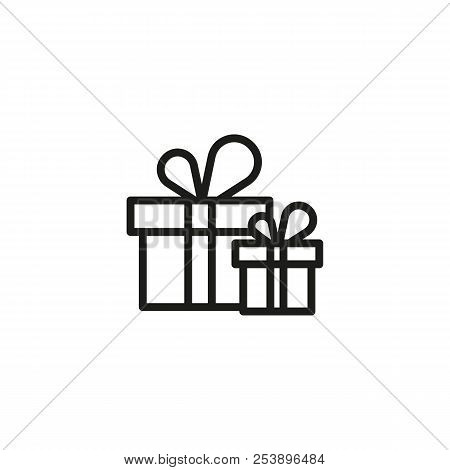 Gift Boxes Line Icon. Christmas Present, Holiday Sale, Birthday Presents. Gift Concept. Vector Illus