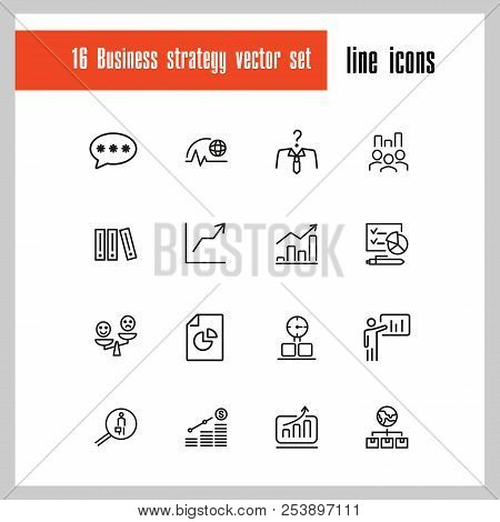 Business Strategy Icons. Set Of Line Icons. Growth Chart, Promotion, Plan. Management Concept. Vecto