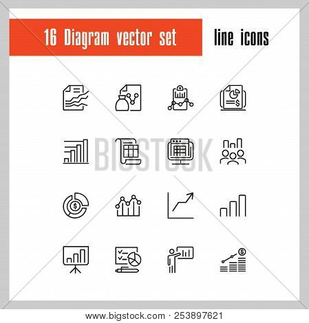 Diagram Icons. Set Of Line Icons. Financial Growth, Presentation, Report. Business Concept. Vector I