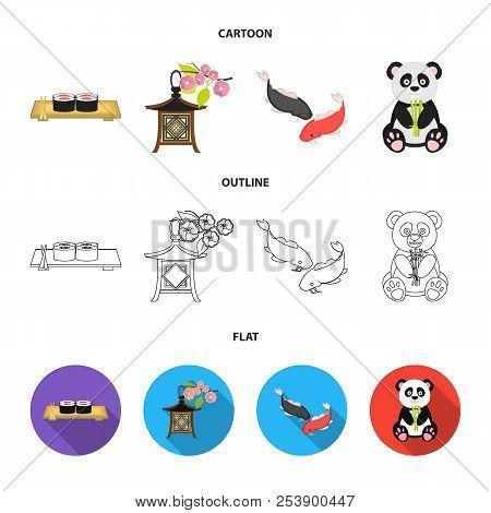 Sushi, Koi Fish, Japanese Lantern, Panda.japan Set Collection Icons In Cartoon, Outline, Flat Style