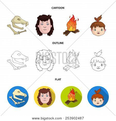 Woman, Hair, Face, Bonfire .stone Age Set Collection Icons In Cartoon, Outline, Flat Style Vector Sy