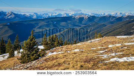 The View Of Kananaskis Mountains And Foothills From Prairie Mountain Near Bragg Creek, And Calgary,