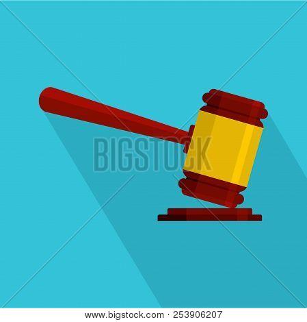 Judge Gavel Icon. Flat Illustration Of Judge Gavel Icon For Web