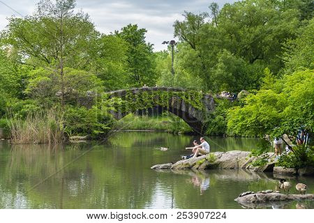 New York, Usa - May 20, 2018: People Visiting Central Park In New York. It Is An Iconic Park In Manh