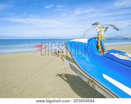 Blue Jetski On The Beach,tropical Idyllic Ocean In Holiday,summer Concept