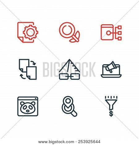 Vector Illustration Of 9 Advertisement Icons Line Style. Editable Set Of Sitemap, Seo Report, Traffi