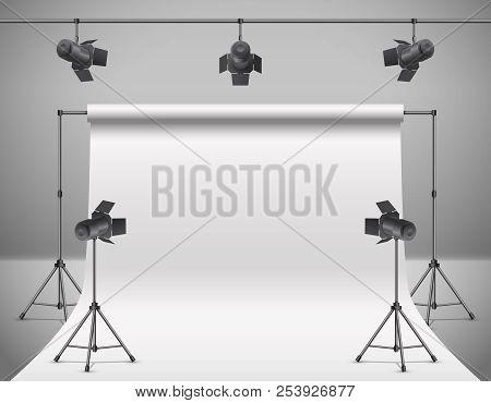 Vector 3d Realistic Photo, Video Studio With Spotlights, White Background. Mock Up Of Photography Pr