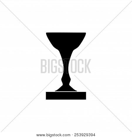 Cup Award Black. Modern Symbol Of Victory, Award Achievement Sport. Insignia Ceremony Awarding Of Wi