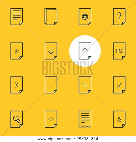 Vector Illustration Of 16 Document Icons Line Style. Editable Set Of Search, File, Html And Other Ic