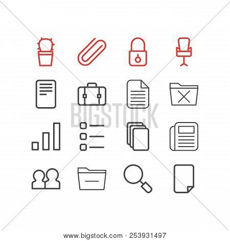Vector illustration of 16 bureau icons line style. Editable set of minus, cactus, suitcase and other icon elements. poster
