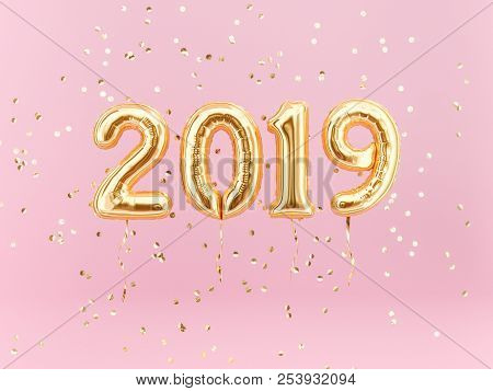 New Year 2019 Celebration. Gold Foil Balloons Numeral 2019 And Confetti On Pink Background. 3D Rende