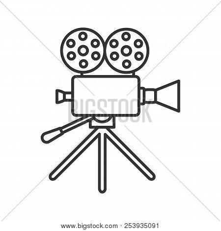 Movie Camera Linear Icon. Thin Line Illustration. Cine Camera. Contour Symbol. Vector Isolated Outli