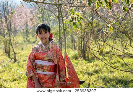 Woman Wearing Kimono Japanese Culture And Kimono Clothing Traditional Dress Japanese
