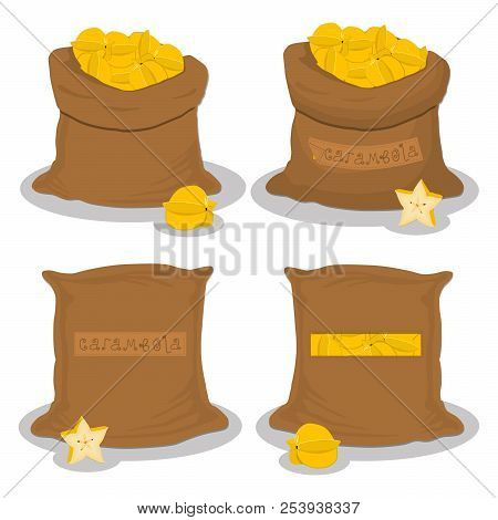 Vector Illustration For Bags Filled With Star Fruit Carambola, Storage In Sacks. Carambola Pattern C