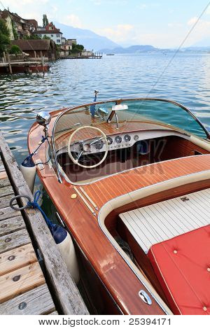 Classical Wooden Motor Boat On Alpine Lake