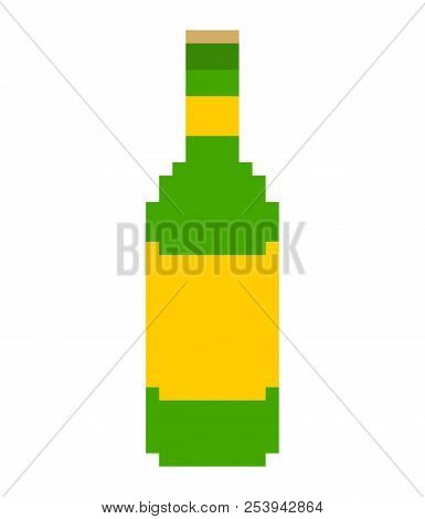 Bottle Beer Green Pixel Art. 8 Bit Vector Illustration