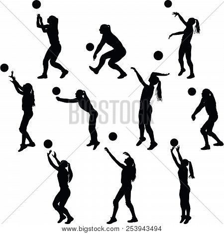Collection Of Volleyball Woman Player In Different Poses