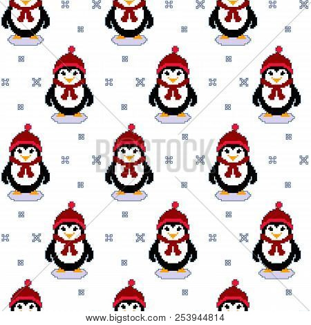 Vector Seamless Pattern Texture With Pixel Art Penguins And Snowflakes. Winter Holidays Cute Vector