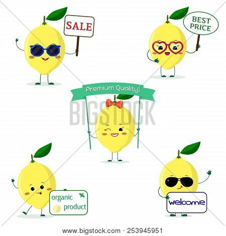 A Set Of Five Lemon Character In Cartoon Style. With Different Plates And Glasses. Flat, Vector.