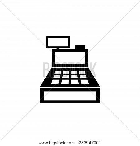 Cash Register Machine. Flat Vector Icon Illustration. Simple Black Symbol On White Background. Cash