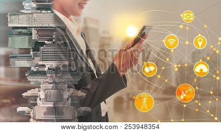 Mobile Phone And Wireless Communication Concept