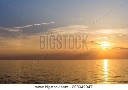 Amazing Sea Sunset. Sunset Sea Waves. Summer Sunset. Beautiful Seascape Evening Sunset Sea And Sky H