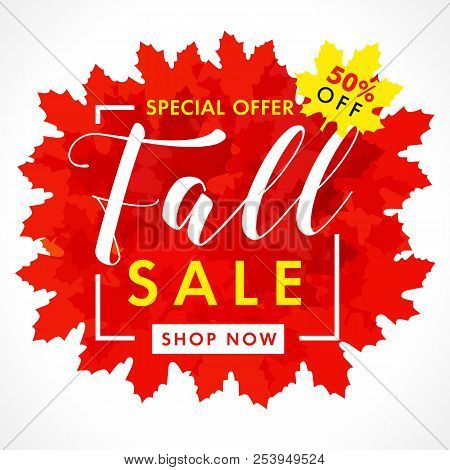 Bright Banner For Fall Sale With Text 50% Off Special Offer In Frame From Red Maple Leaves. Autumn S