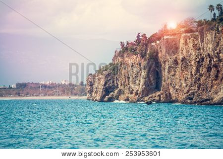 Beautiful Sea Coast. Coast Line Of The Mediterranean Sea. Seascape. Turkish Resort. Mountains And Th