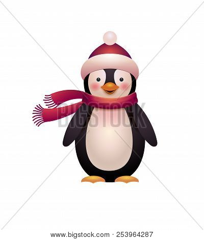 Cute Penguin Vector, Cartoon Style Illustration. Funny Penguin Isolated On White. Merry Christmas An