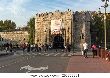 Nis, Serbia- October 21, 2017: Sunset View Of Entrance Of Fortress Of City Of Nis, Serbia