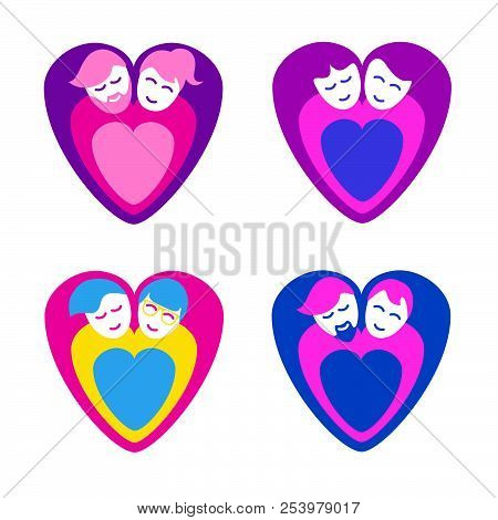 Loving Couples As Heart Shape Icons, Heterosexual And Lgbt