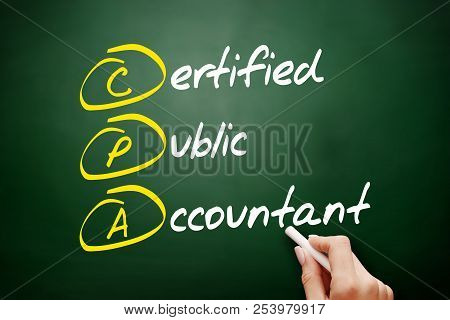 Cpa - Certified Public Accountant Acronym, Business Concept On Blackboard