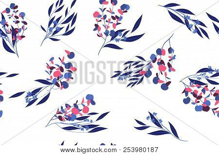 Seamless Summer Pattern In Watercolor Style. Vector Eucalyptus Leaves. Beautiful Branches And Floral
