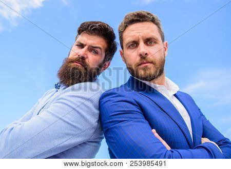 Lawyer Agency. Men Businessman Formal Suits Stand Back To Back Blue Sky Background. Confident Busine