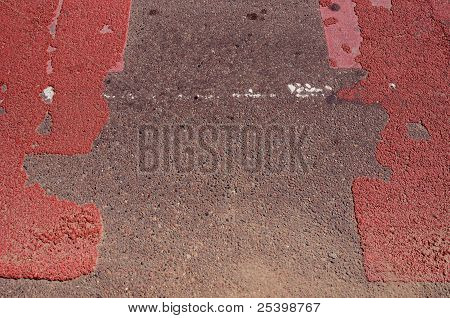 Asphalt Road With Red Pointed Pedestrian Crossway.