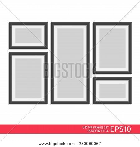 Picture Photo Frames Set With Shadow Isolated On White Background. Realistic Style. Photo Art Galler