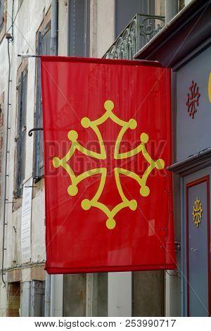 The Occitania Flag On A Street Shop.