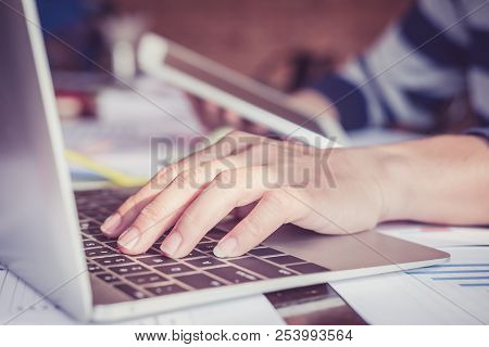 Close Up Hands Male Graphic Designers,interior Designer. Meeting On Graphic Tablet In Modern Space O