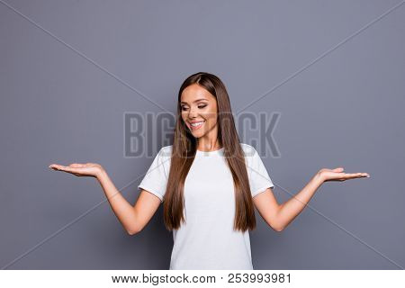 Portrait Of Brown-haired Gorgeous Attractive Nice Young Lady, Showing Gesture With Palms, Choosing O