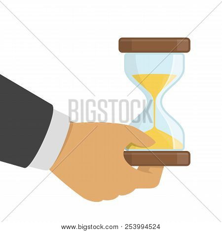 Hourglasses In Businessman Hands. Human Hand Holds A Hourglass. Sandglass Clock, Timer, Business And