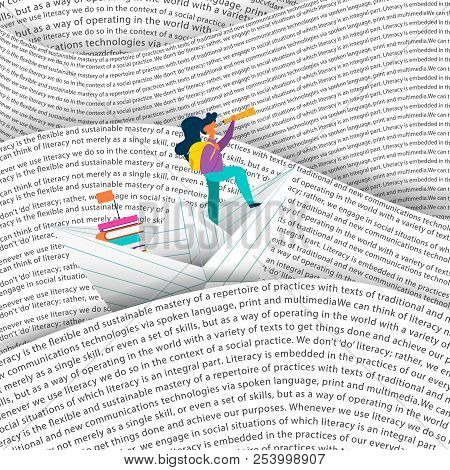 Girl Sailing Paper Boat In Sea Of Words. Education Concept For Children Reading Or School Project. E