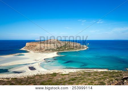 Famous Balos Beach At Crete, Greece. View From Above