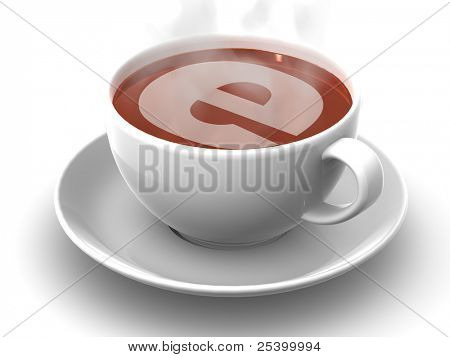 Cup of coffee with a symbol of the internet. 3d