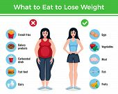Diet infographics layout with information about what to eat to lose and gain weight cartoon vector illustration poster