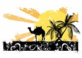 Illustration of a camel and palm trees poster