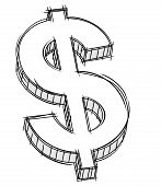 Vector pencil style doodle of money sign. No gradient. poster