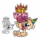 Vector Illustration of bear with a birthday cake in color and outline; isolated on background. poster