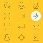 illustration of 12 interface icons line style. Editable set of delete account, screenshot, full screen and other icon elements. poster